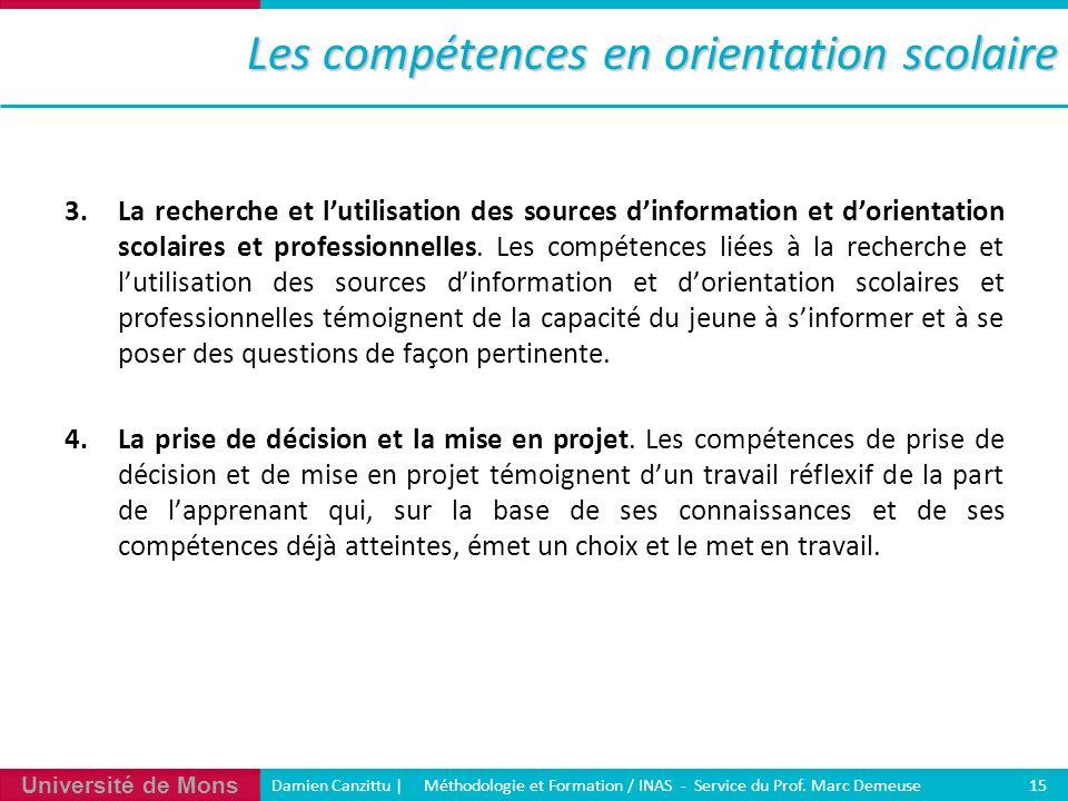 Université de Mons Damien Canzittu   Méthodologie et Formation / INAS - Service du Prof. Marc Demeuse 15 Les compétences en orientation scolaire 3.La