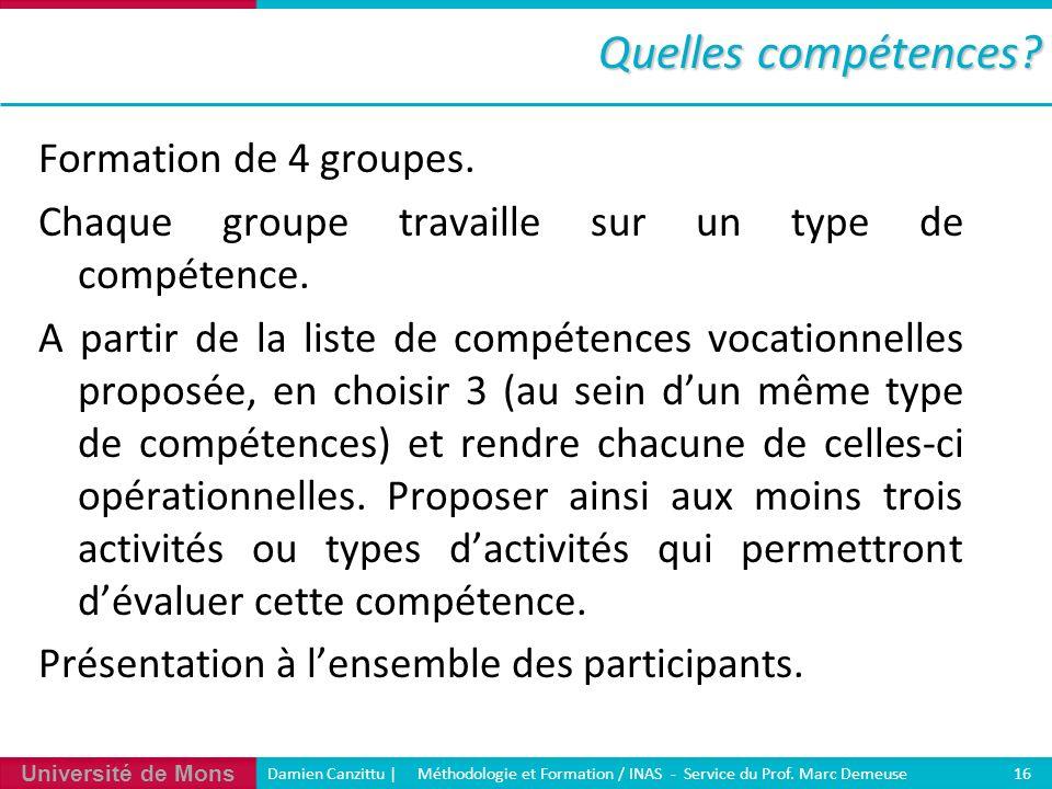 Université de Mons Damien Canzittu   Méthodologie et Formation / INAS - Service du Prof. Marc Demeuse 16 Quelles compétences? Formation de 4 groupes.