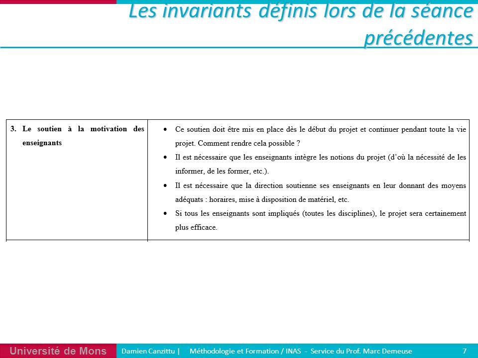 Université de Mons Damien Canzittu   Méthodologie et Formation / INAS - Service du Prof. Marc Demeuse 7 Les invariants définis lors de la séance précé