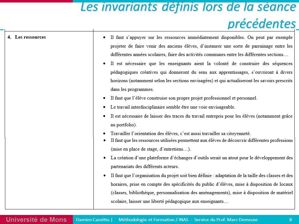 Université de Mons Damien Canzittu   Méthodologie et Formation / INAS - Service du Prof. Marc Demeuse 8 Les invariants définis lors de la séance précé