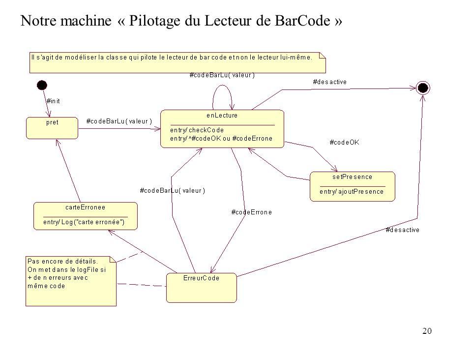 20 Notre machine « Pilotage du Lecteur de BarCode »