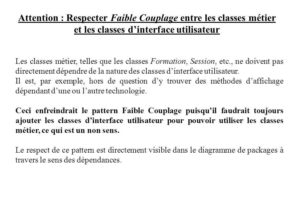Attention : Respecter Faible Couplage entre les classes métier et les classes dinterface utilisateur Les classes métier, telles que les classes Format