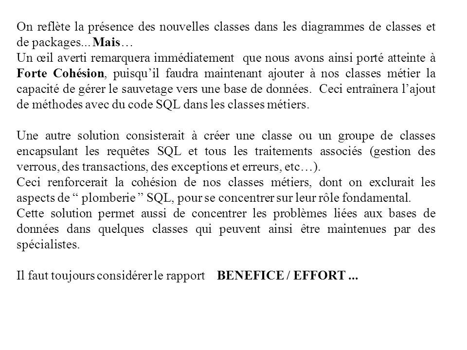 On reflète la présence des nouvelles classes dans les diagrammes de classes et de packages... Mais… Un œil averti remarquera immédiatement que nous av