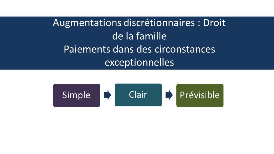 SimpleClairPrévisible Augmentations discrétionnaires : Droit de la famille Paiements dans des circonstances exceptionnelles