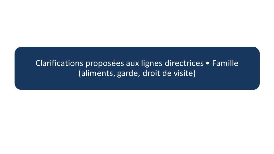 Clarifications proposées aux lignes directrices Famille (aliments, garde, droit de visite)
