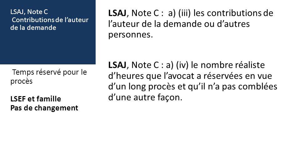 LSAJ, Note C Contributions de lauteur de la demande LSAJ, Note C : a) (iii) les contributions de lauteur de la demande ou dautres personnes. LSAJ, Not