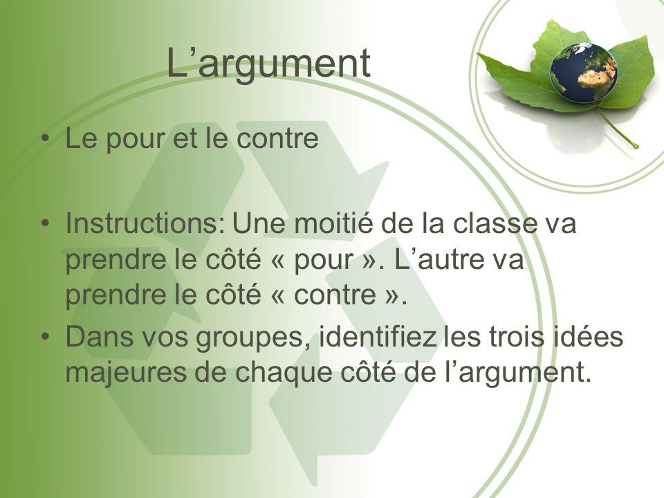 Largument Le pour et le contre Instructions: Une moitié de la classe va prendre le côté « pour ». Lautre va prendre le côté « contre ». Dans vos group