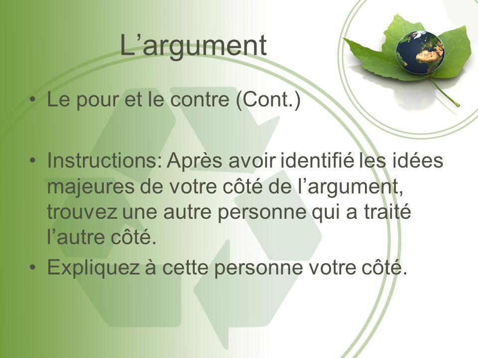 Largument Le pour et le contre (Cont.) Instructions: Après avoir identifié les idées majeures de votre côté de largument, trouvez une autre personne q