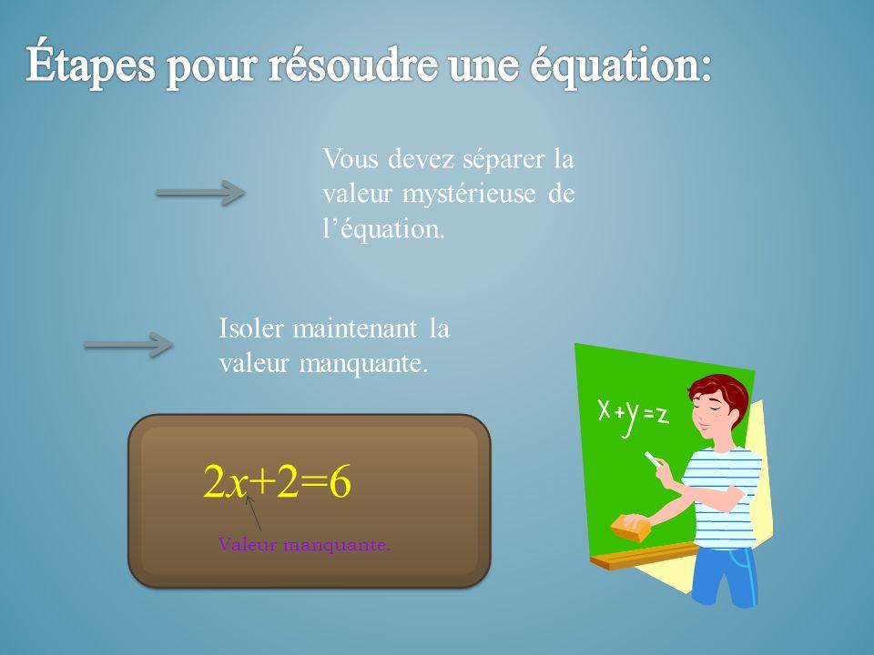 Vous devez séparer la valeur mystérieuse de léquation. Isoler maintenant la valeur manquante. 2x+2=6 Valeur manquante.
