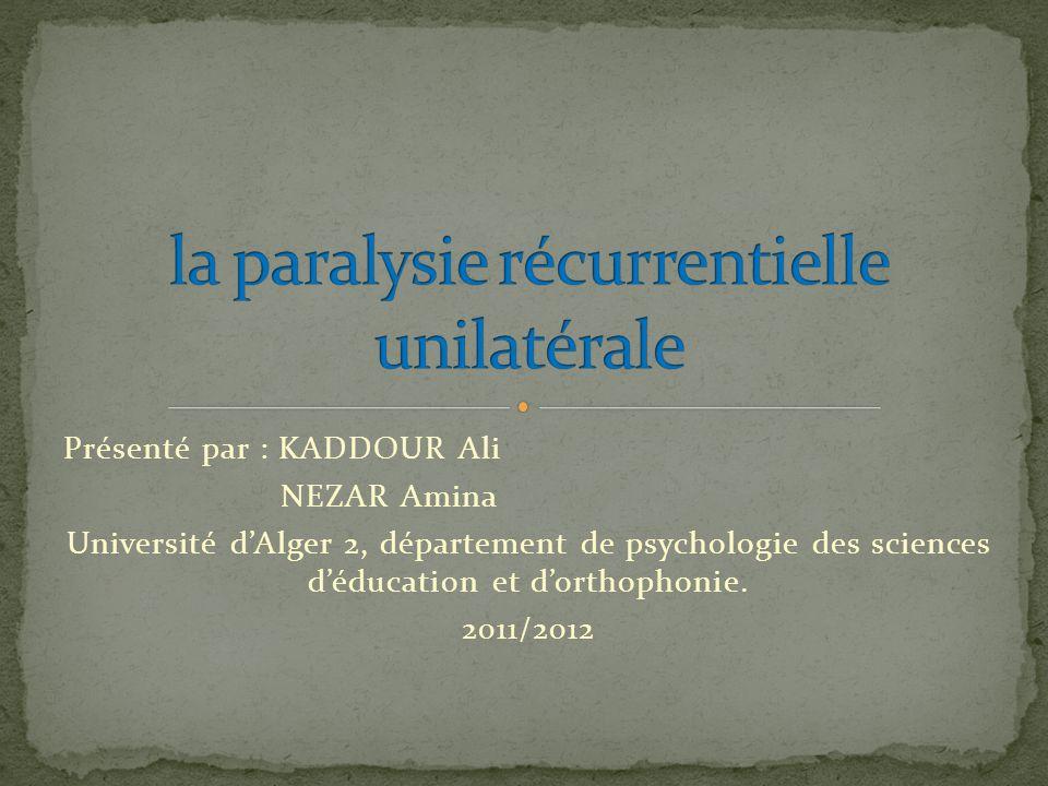 Présenté par : KADDOUR Ali NEZAR Amina Université dAlger 2, département de psychologie des sciences déducation et dorthophonie. 2011/2012