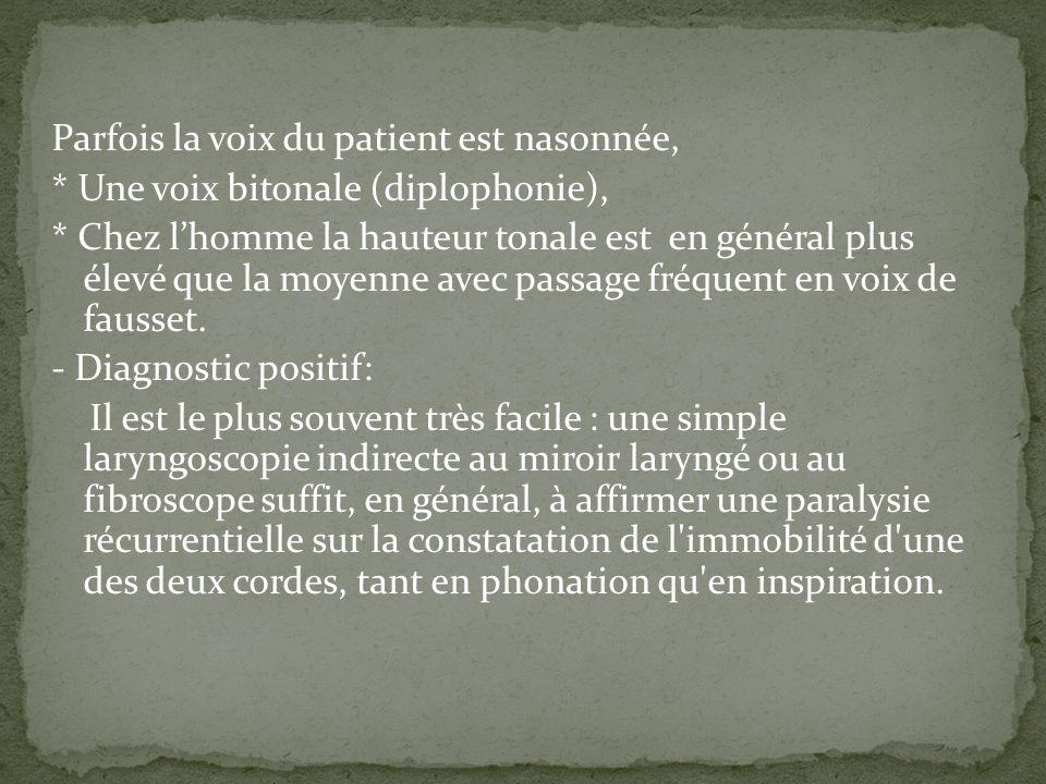 Parfois la voix du patient est nasonnée, * Une voix bitonale (diplophonie), * Chez lhomme la hauteur tonale est en général plus élevé que la moyenne a