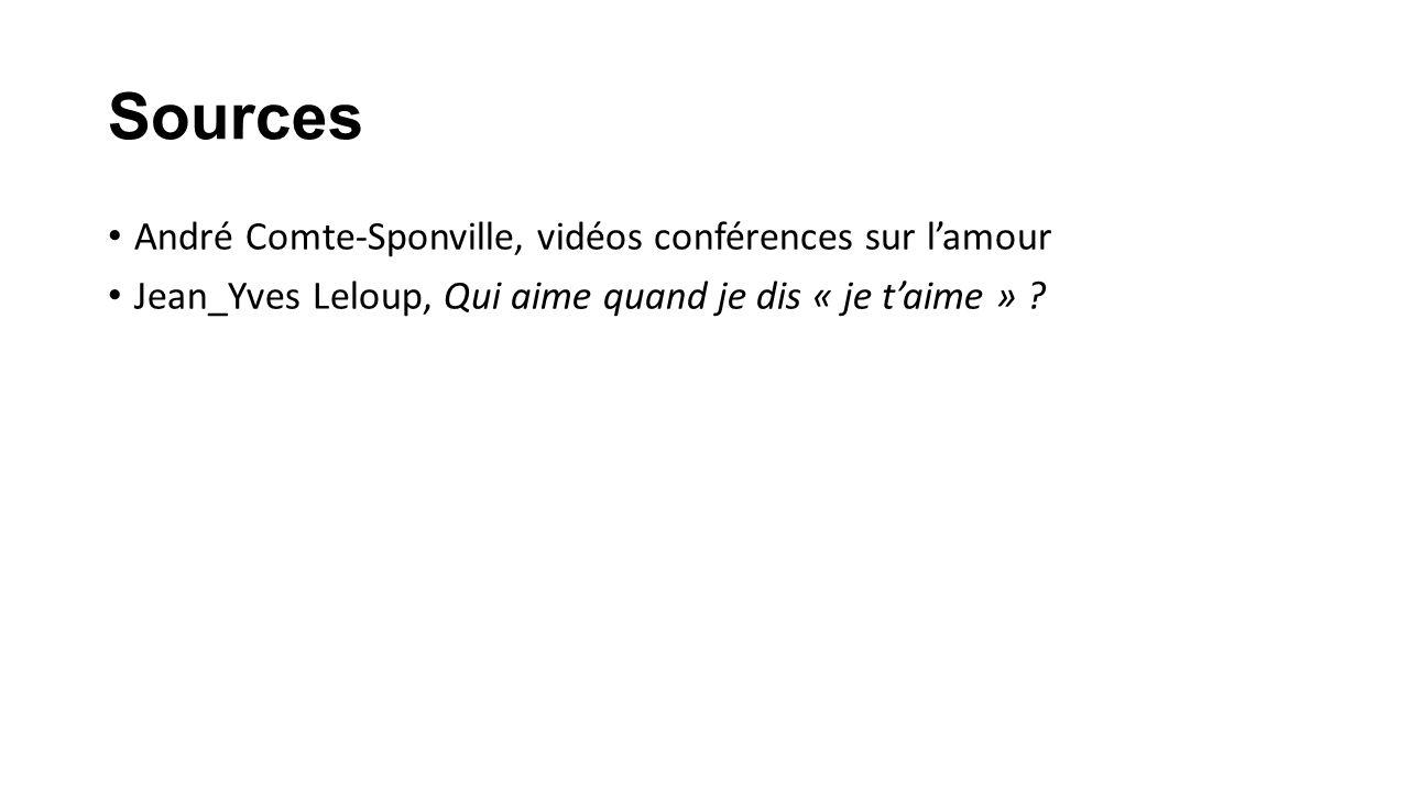 Sources André Comte-Sponville, vidéos conférences sur lamour Jean_Yves Leloup, Qui aime quand je dis « je taime » ?