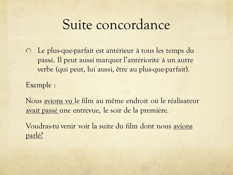 Suite concordance Le plus-que-parfait est antérieur à tous les temps du passé.