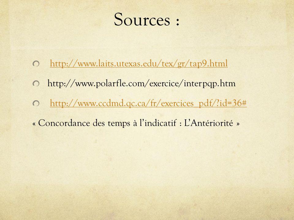 Sources : http://www.laits.utexas.edu/tex/gr/tap9.html http://www.polarfle.com/exercice/interpqp.htm http://www.ccdmd.qc.ca/fr/exercices_pdf/?id=36# « Concordance des temps à lindicatif : LAntériorité »