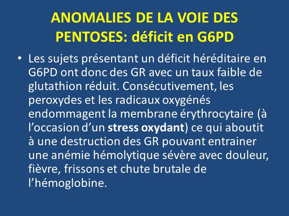 ANOMALIES DE LA VOIE DES PENTOSES: déficit en G6PD Les sujets présentant un déficit héréditaire en G6PD ont donc des GR avec un taux faible de glutathion réduit.