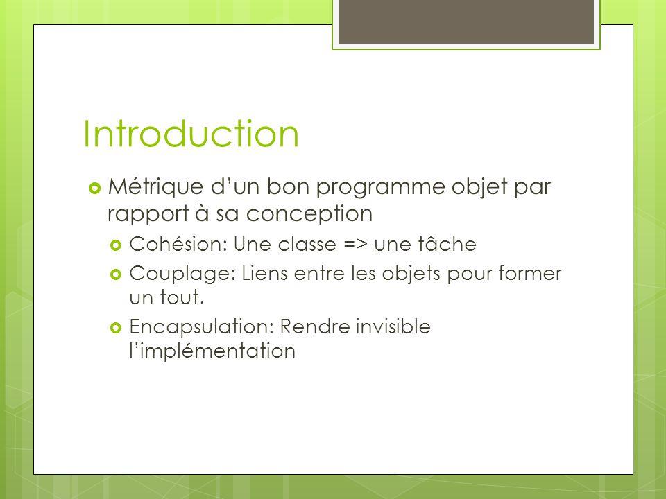 Introduction Métrique dun bon programme objet par rapport à sa conception Cohésion: Une classe => une tâche Couplage: Liens entre les objets pour former un tout.