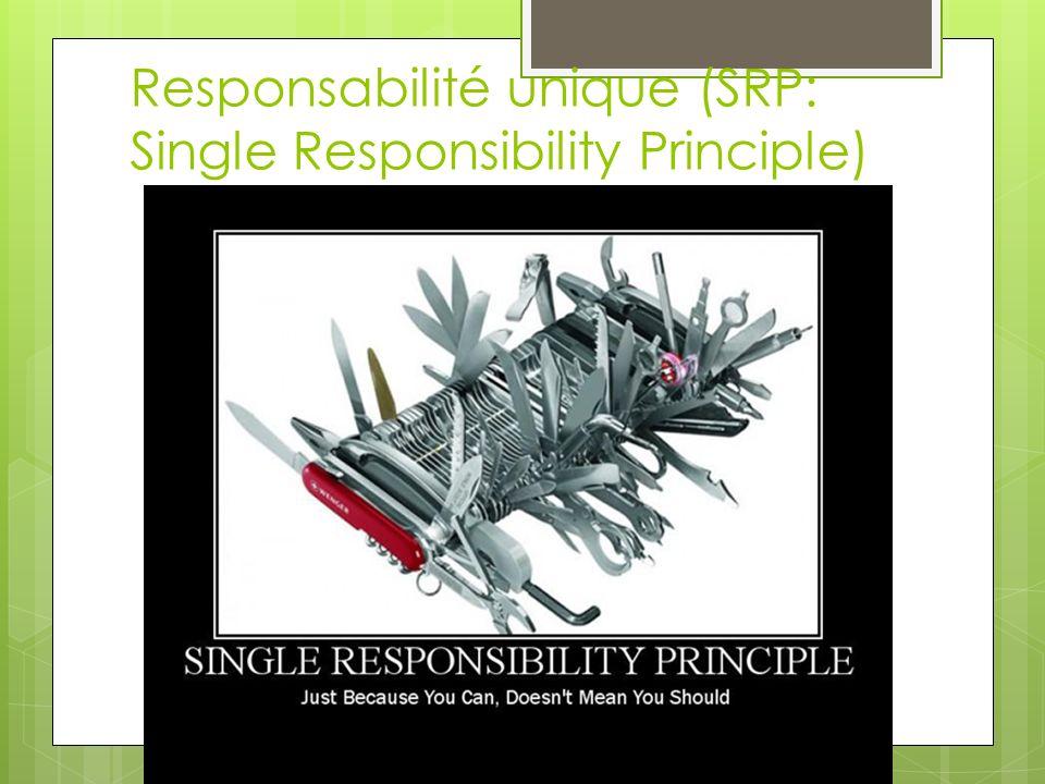 Responsabilité unique (SRP: Single Responsibility Principle)
