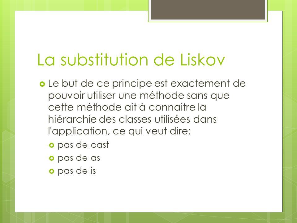 La substitution de Liskov Le but de ce principe est exactement de pouvoir utiliser une méthode sans que cette méthode ait à connaitre la hiérarchie des classes utilisées dans l application, ce qui veut dire: pas de cast pas de as pas de is