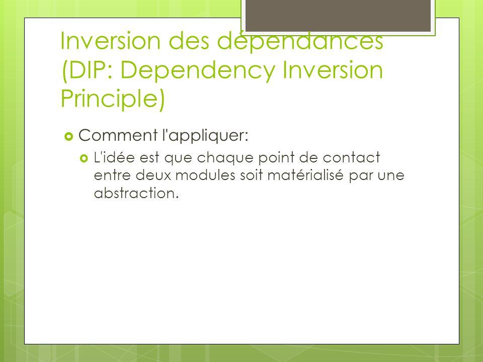 Inversion des dépendances (DIP: Dependency Inversion Principle) Comment l appliquer: L idée est que chaque point de contact entre deux modules soit matérialisé par une abstraction.