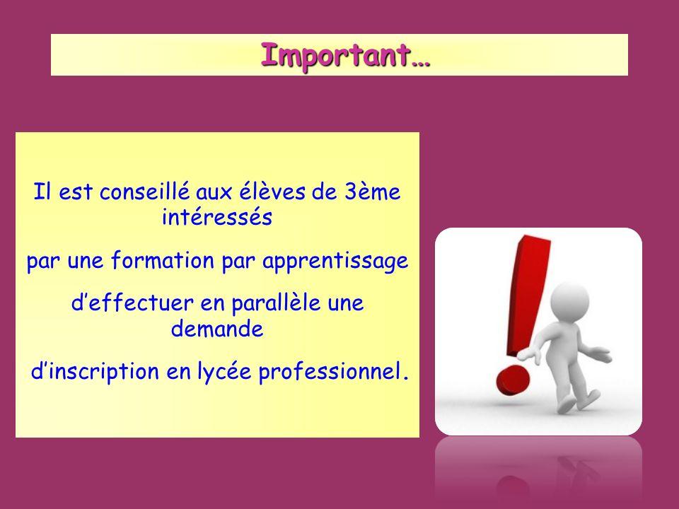 Important… Important… Il est conseillé aux élèves de 3ème intéressés par une formation par apprentissage deffectuer en parallèle une demande dinscript