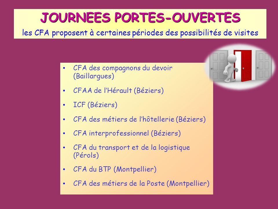 JOURNEES PORTES-OUVERTES JOURNEES PORTES-OUVERTES les CFA proposent à certaines périodes des possibilités de visites CFA des compagnons du devoir (Bai