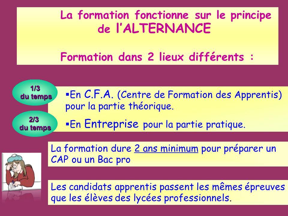 La formation fonctionne sur le principe de lALTERNANCE Formation dans 2 lieux différents : En C.F.A. (Centre de Formation des Apprentis) pour la parti