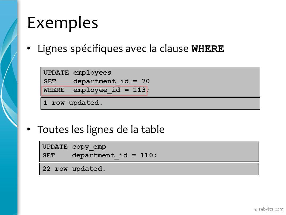 Exemples Lignes spécifiques avec la clause WHERE Toutes les lignes de la table UPDATE employees SET department_id = 70 WHERE employee_id = 113; UPDATE copy_emp SET department_id = 110; 1 row updated.
