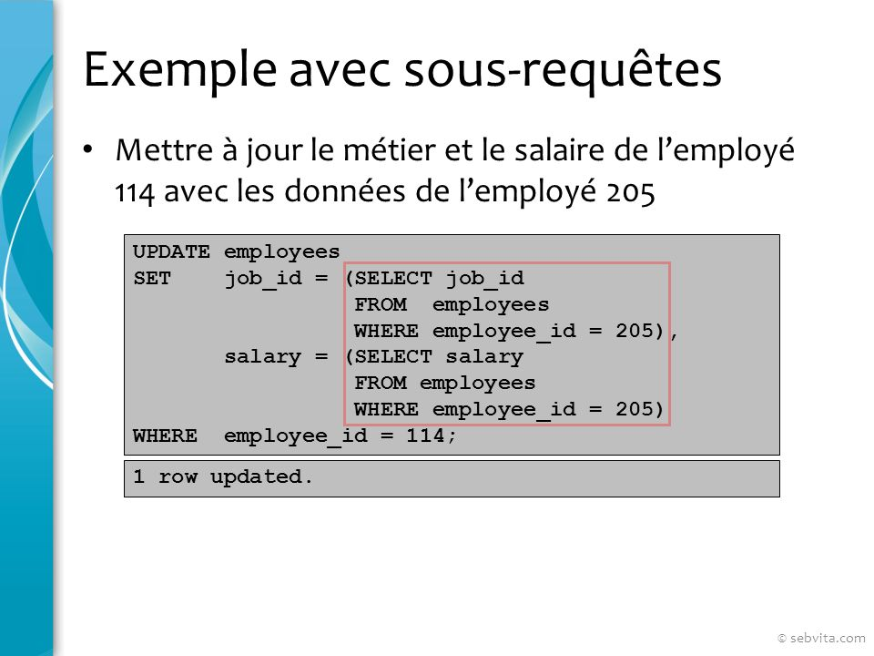 Exemple avec sous-requêtes Mettre à jour le métier et le salaire de lemployé 114 avec les données de lemployé 205 UPDATE employees SET job_id = (SELECT job_id FROM employees WHERE employee_id = 205), salary = (SELECT salary FROM employees WHERE employee_id = 205) WHERE employee_id = 114; 1 row updated.