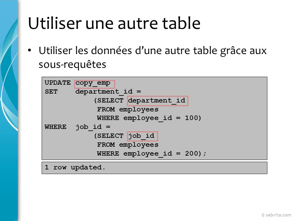 Utiliser une autre table Utiliser les données dune autre table grâce aux sous-requêtes UPDATE copy_emp SET department_id = (SELECT department_id FROM