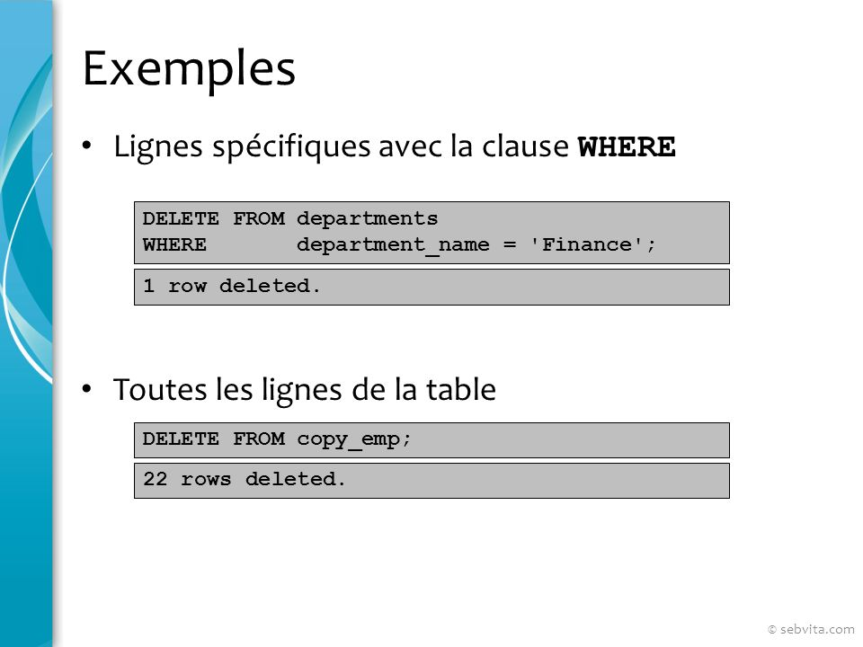 Exemples Lignes spécifiques avec la clause WHERE Toutes les lignes de la table DELETE FROM departments WHERE department_name = Finance ; DELETE FROM copy_emp; 1 row deleted.