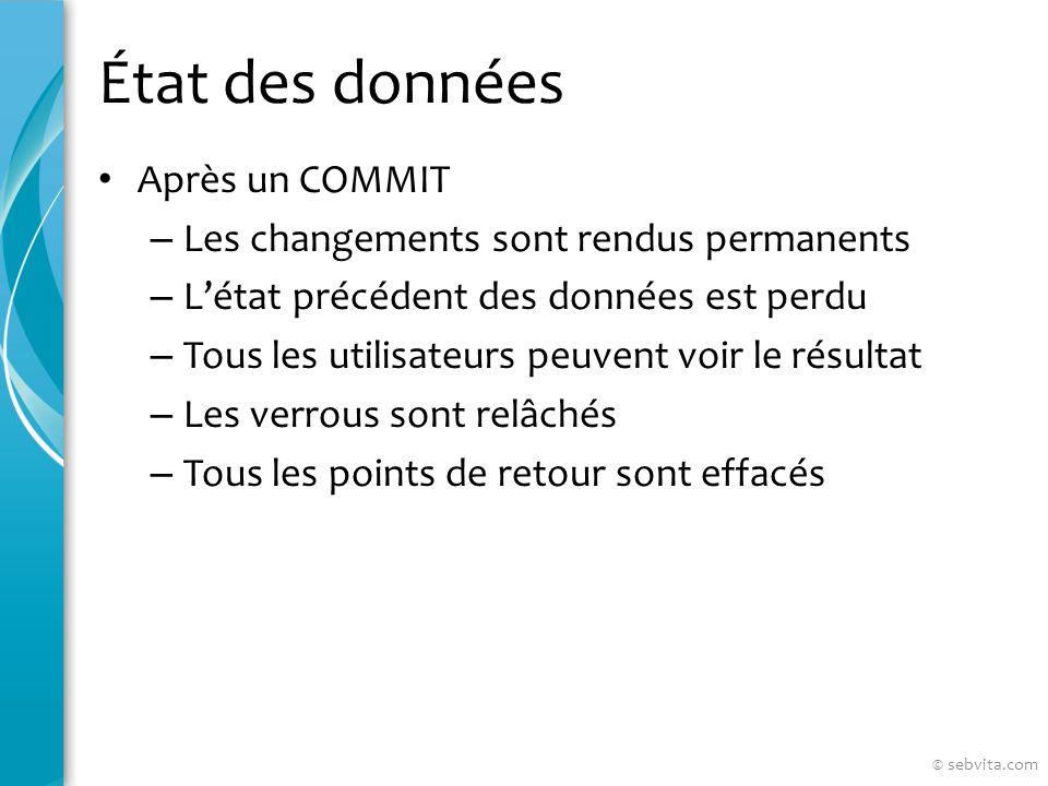 État des données Après un COMMIT – Les changements sont rendus permanents – Létat précédent des données est perdu – Tous les utilisateurs peuvent voir le résultat – Les verrous sont relâchés – Tous les points de retour sont effacés © sebvita.com