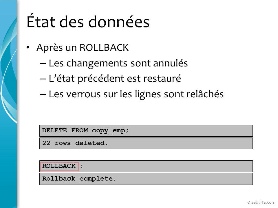 État des données Après un ROLLBACK – Les changements sont annulés – Létat précédent est restauré – Les verrous sur les lignes sont relâchés DELETE FROM copy_emp; ROLLBACK ; 22 rows deleted.