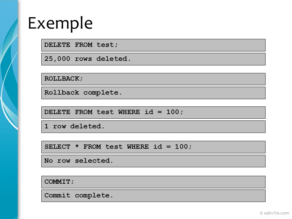 Exemple DELETE FROM test; ROLLBACK; DELETE FROM test WHERE id = 100; SELECT * FROM test WHERE id = 100; COMMIT; 25,000 rows deleted.