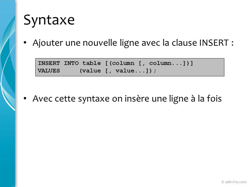 Lordre TRUNCATE Supprimer toutes les lignes dune table Est un DDL et non un DML : ne peut pas être annulé aussi facilement Syntaxe : Exemple : TRUNCATE TABLE table_name; TRUNCATE TABLE copy_emp; © sebvita.com