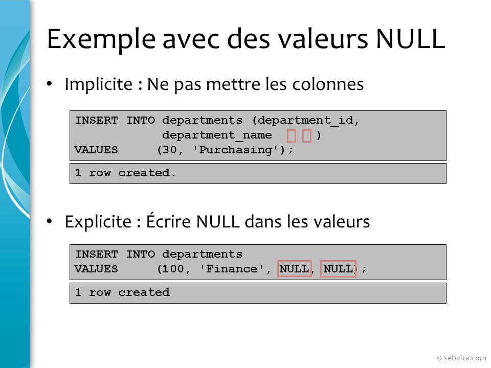 Exemple avec des valeurs NULL Implicite : Ne pas mettre les colonnes Explicite : Écrire NULL dans les valeurs INSERT INTO departments (department_id, department_name ) VALUES (30, Purchasing ); INSERT INTO departments VALUES (100, Finance , NULL, NULL); 1 row created.