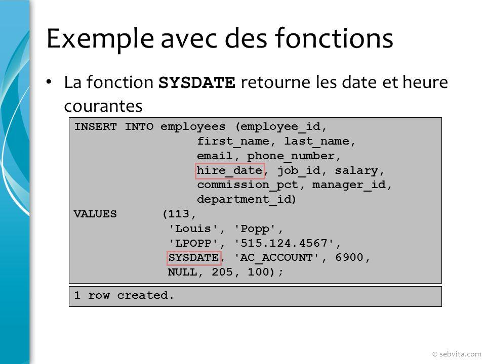 DEFAULT Utiliser la valeur par défaut dune colonne Peut-être utilisé dans les INSERT et UPDATE INSERT INTO deptm3 (department_id, department_name, manager_id) VALUES (300, Engineering , DEFAULT); UPDATE deptm3 SET manager_id = DEFAULT WHERE department_id = 10; © sebvita.com