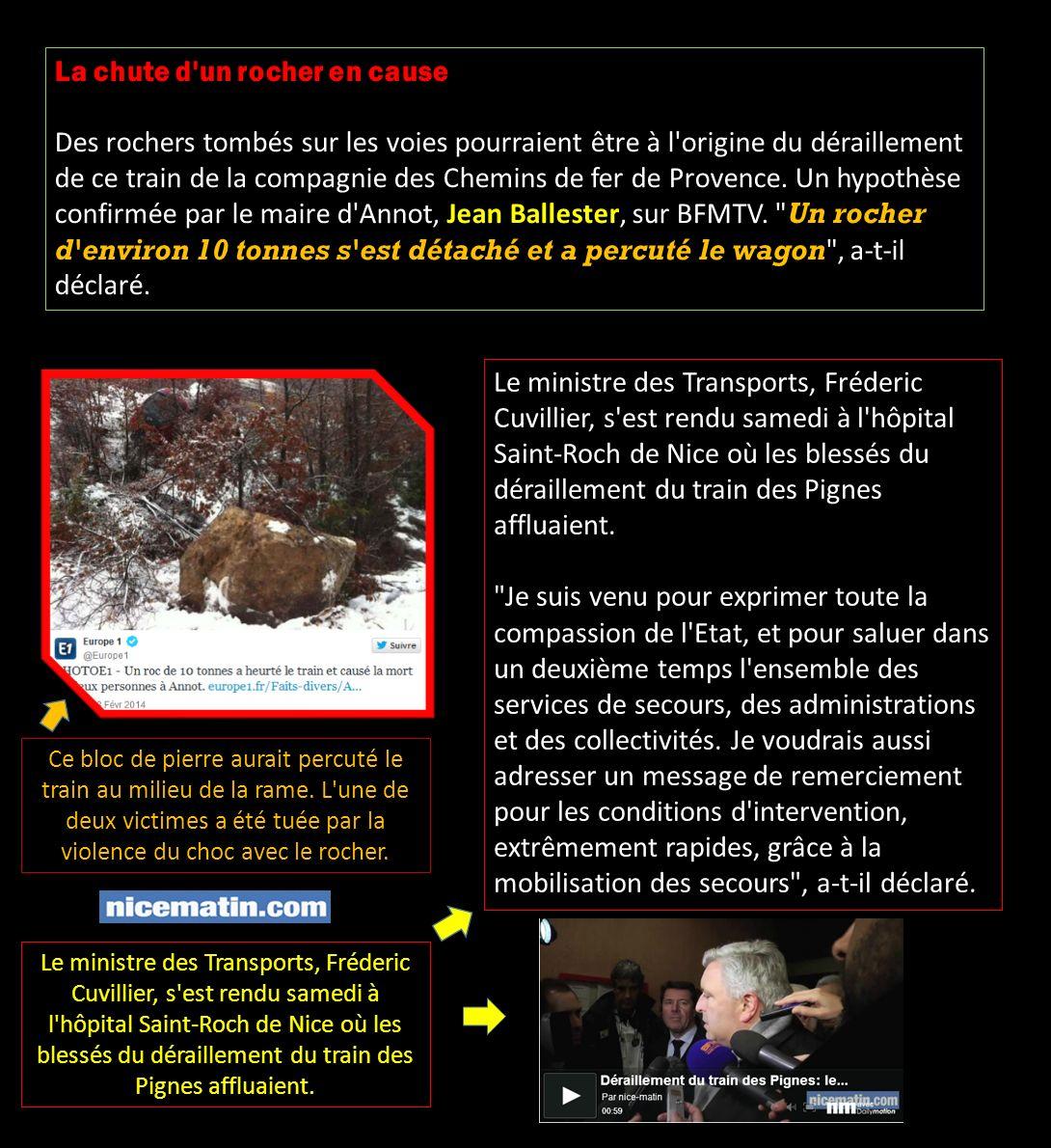 La chute d un rocher en cause Des rochers tombés sur les voies pourraient être à l origine du déraillement de ce train de la compagnie des Chemins de fer de Provence.