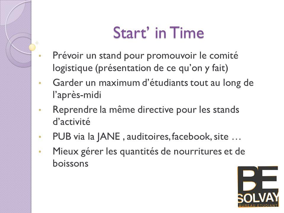 Start in Time Prévoir un stand pour promouvoir le comité logistique (présentation de ce quon y fait) Garder un maximum détudiants tout au long de lapr