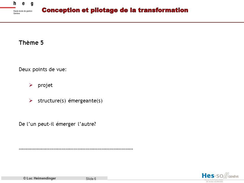 Slide 6 Thème 5 Deux points de vue: projet structure(s) émergeante(s) De lun peut-il émerger lautre.