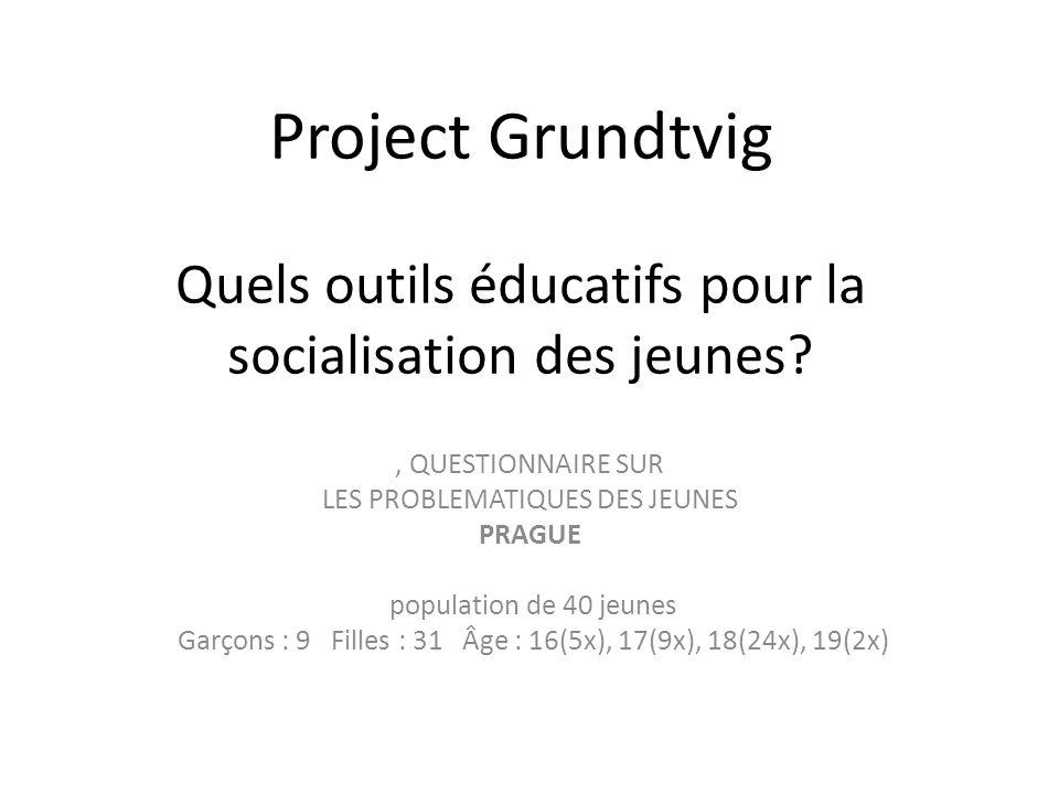 Project Grundtvig Quels outils éducatifs pour la socialisation des jeunes?, QUESTIONNAIRE SUR LES PROBLEMATIQUES DES JEUNES PRAGUE population de 40 je