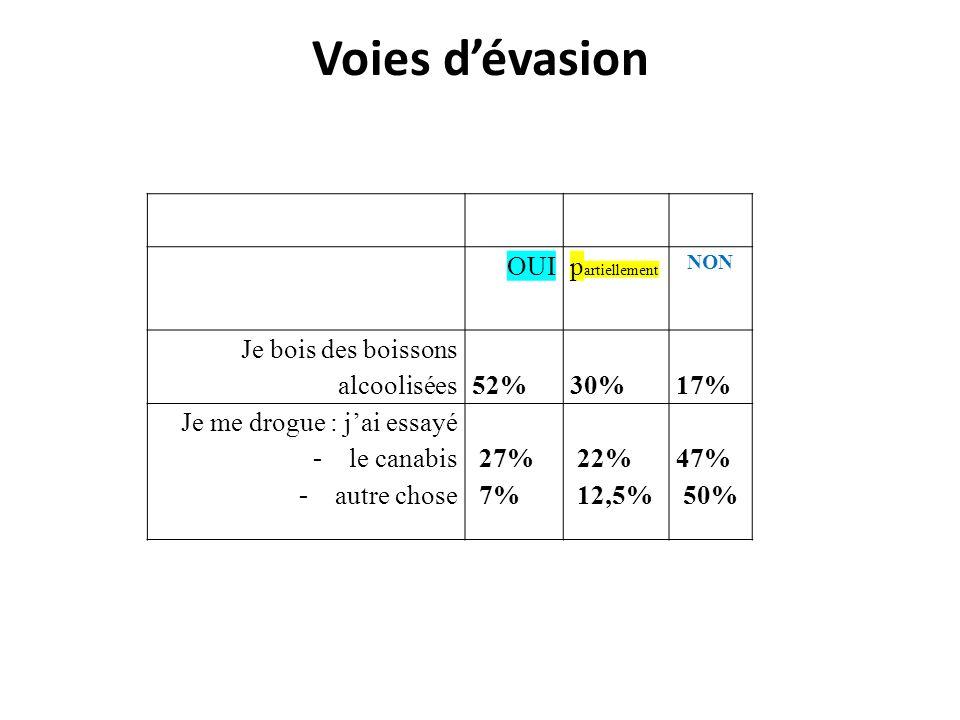 Voies dévasion OUI p artiellement NON Je bois des boissons alcoolisées 52% 30% 17% Je me drogue : jai essayé - le canabis - autre chose 27% 7% 22% 12,