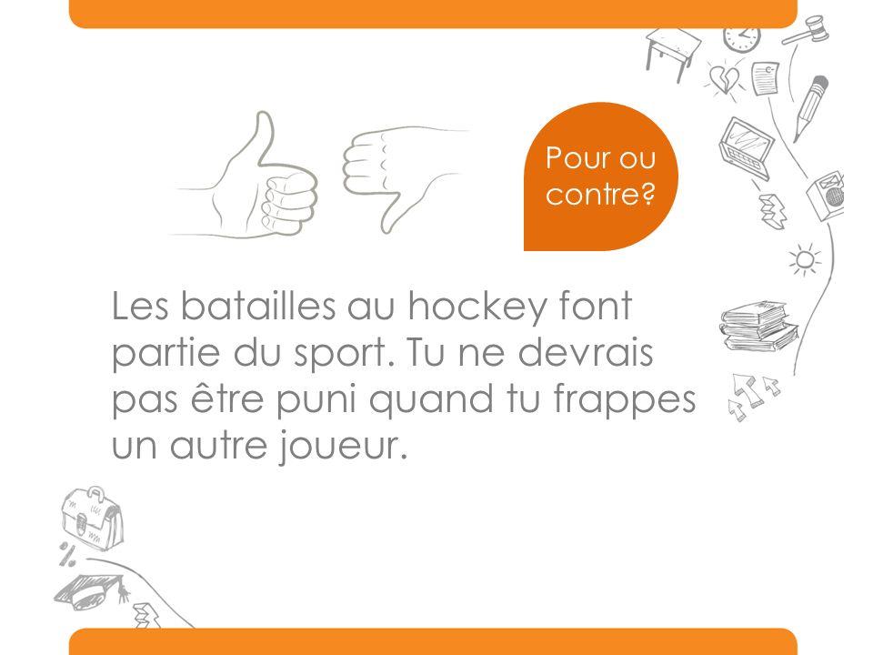 Les batailles au hockey font partie du sport. Tu ne devrais pas être puni quand tu frappes un autre joueur. Pour ou contre?