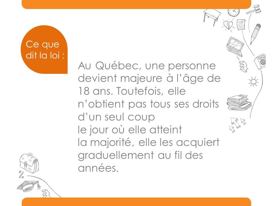Au Québec, une personne devient majeure à lâge de 18 ans.