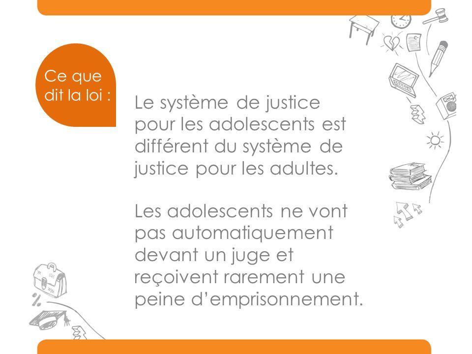 Ce que dit la loi : Les adolescents ne vont pas automatiquement devant un juge et reçoivent rarement une peine demprisonnement. Le système de justice