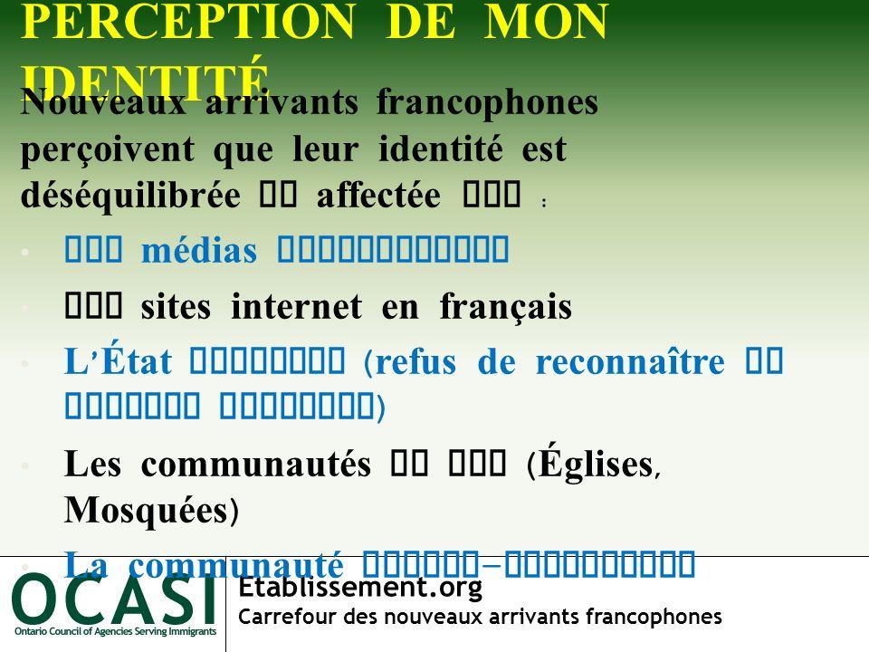 Etablissement.org Carrefour des nouveaux arrivants francophones PERCEPTION DE MON IDENTITÉ Nouveaux arrivants francophones perçoivent que leur identit