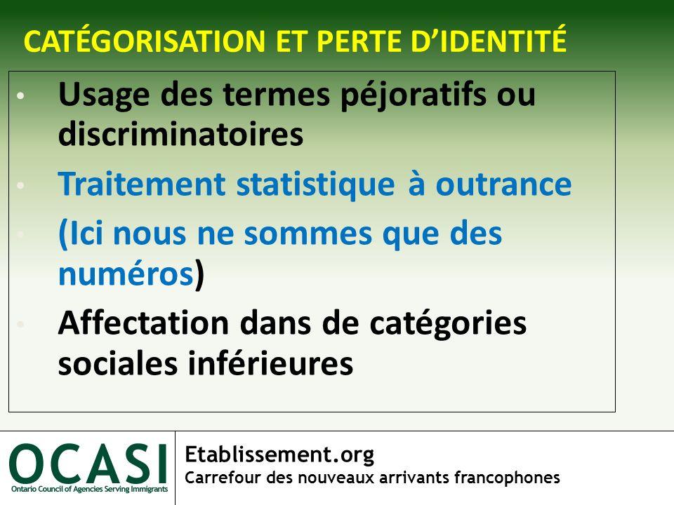 Etablissement.org Carrefour des nouveaux arrivants francophones CATÉGORISATION ET PERTE DIDENTITÉ Usage des termes péjoratifs ou discriminatoires Trai