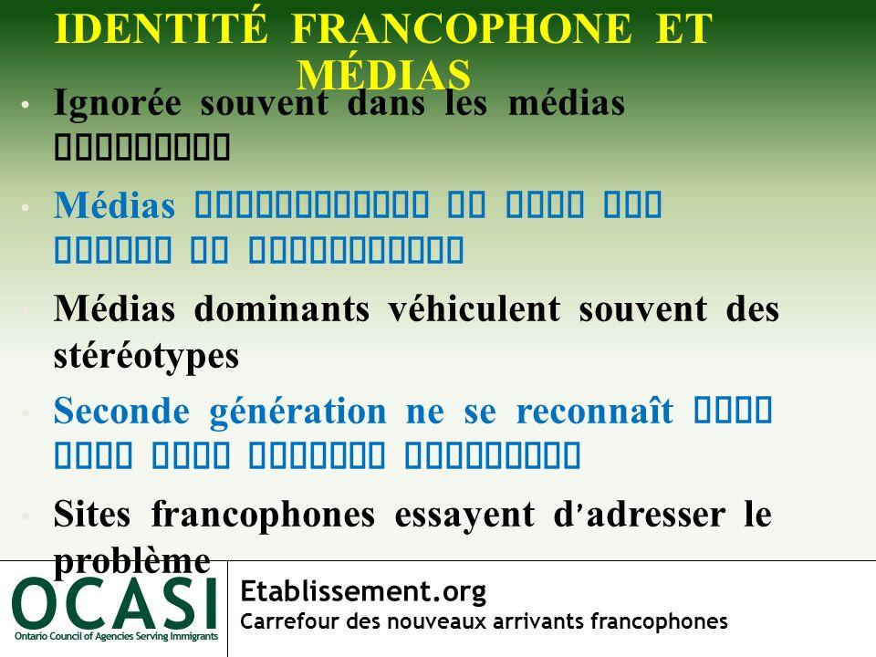 Etablissement.org Carrefour des nouveaux arrivants francophones IDENTITÉ FRANCOPHONE ET MÉDIAS Ignorée souvent dans les médias dominants Médias franco