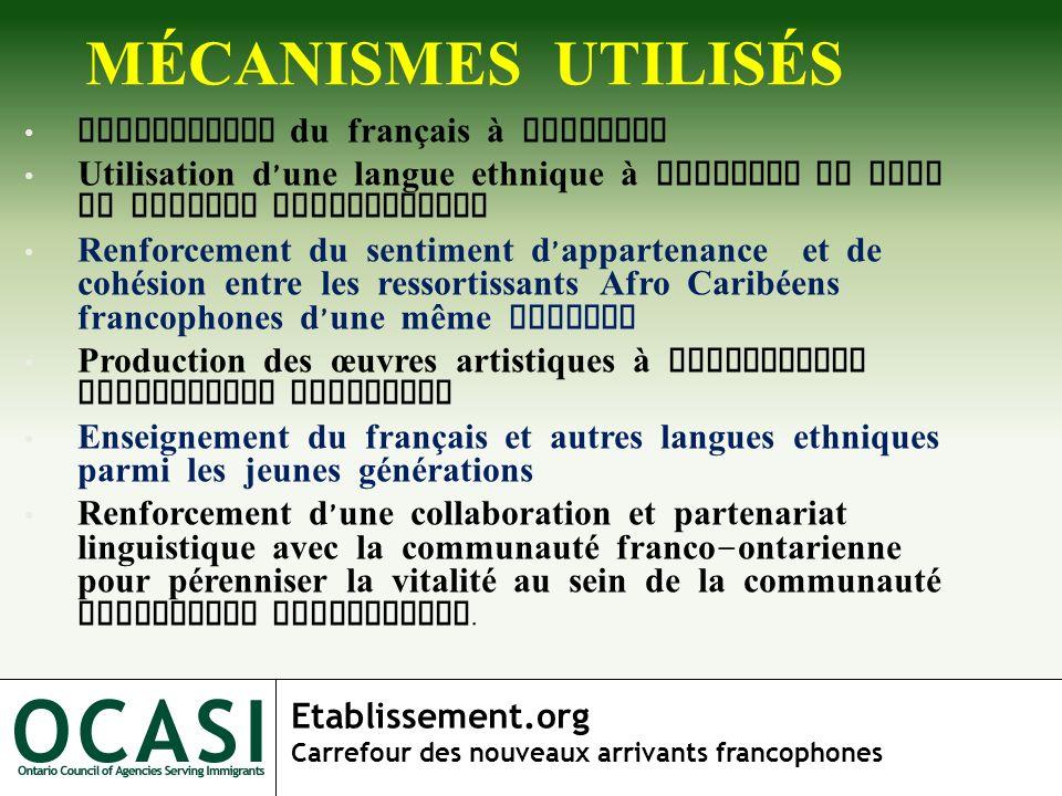 Etablissement.org Carrefour des nouveaux arrivants francophones MÉCANISMES UTILISÉS Utilisation du français à domicile Utilisation d une langue ethniq