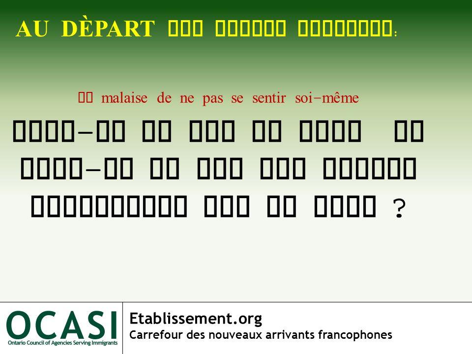 Etablissement.org Carrefour des nouveaux arrivants francophones AU D È PART UNE GRANDE QUESTION : Le malaise de ne pas se sentir soi - même Suis - je