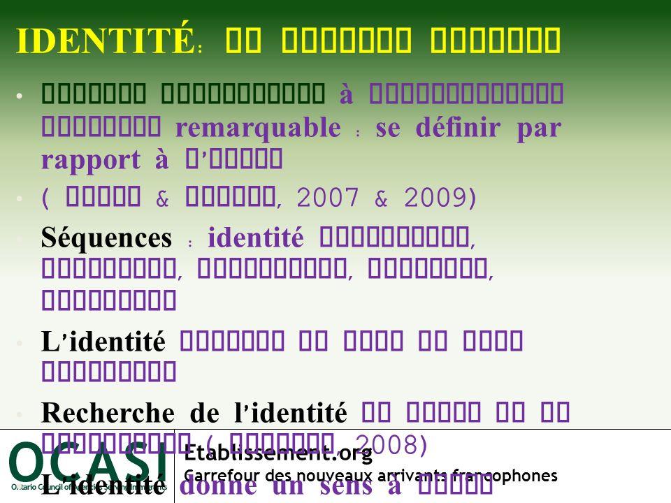 Etablissement.org Carrefour des nouveaux arrivants francophones IDENTITÉ : UN CONCEPT MOUVANT Concept fondamental à configuration formelle remarquable